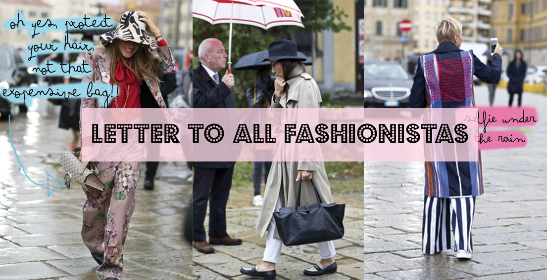 Milan Fashion Week FW16: Street Style Under The Rain. How to ruin expensive bags! - www.bonjourchiara.com