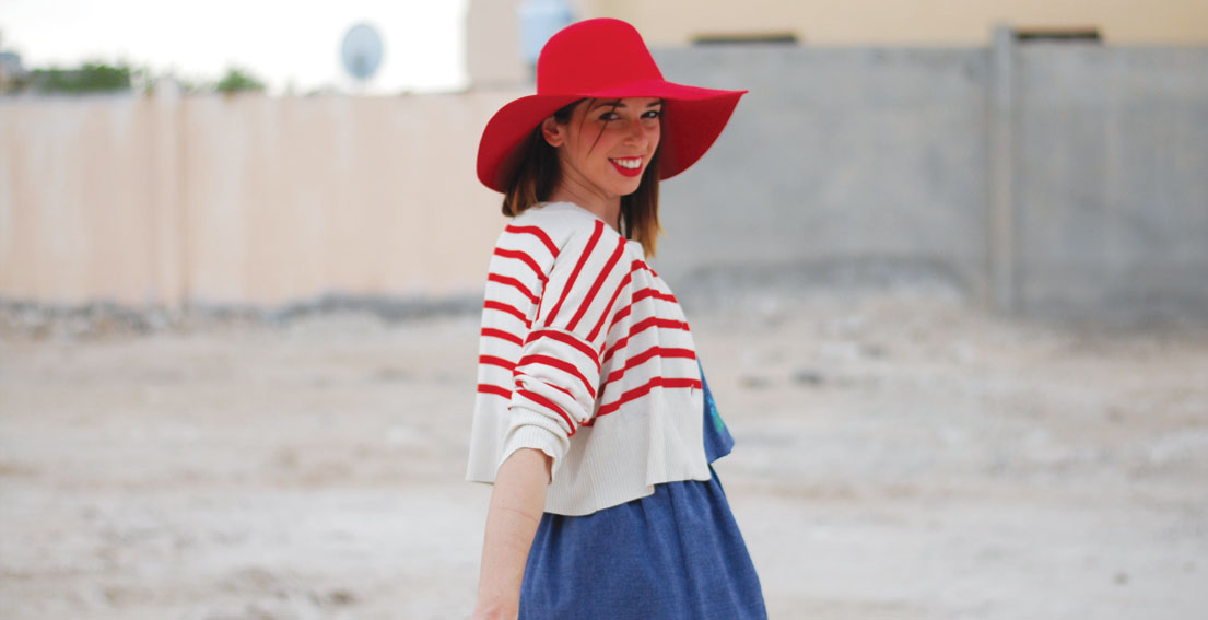 Andrea Dress + Red Hat
