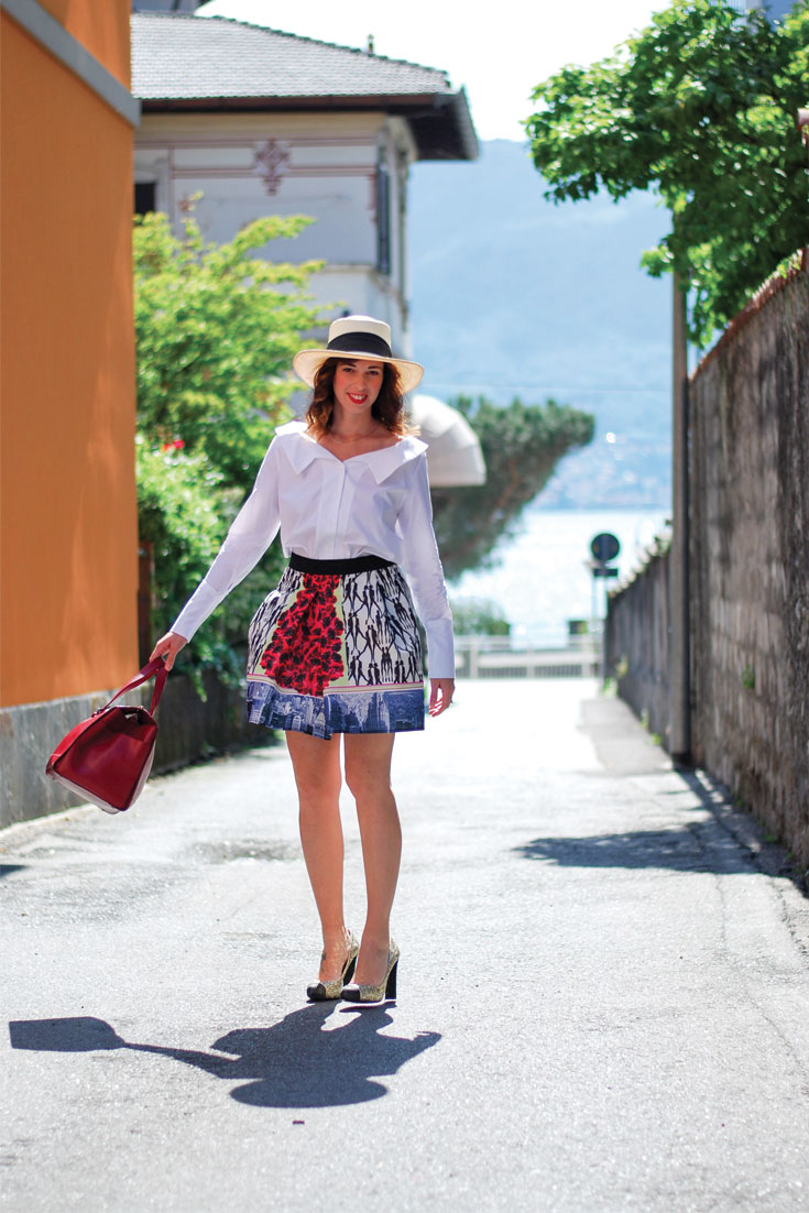 Bonjour Chiara: One day in Verbania, Lago Maggiore / Holiday Look, puffy skirt and off the shoulder shirt - www.bonjourchiara.com