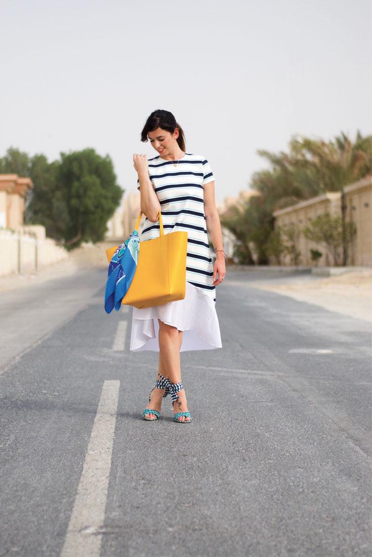 Bonjour Chiara Style // Striped Dress + Gingham Heels - www.bonjourchiara.com