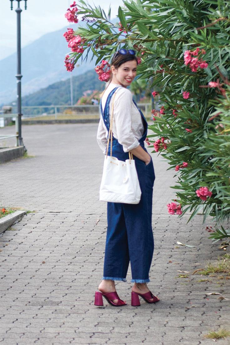 Bonjour Chiara Wears // Zara Denim Overall - Golden Goose Shirt, Topshop metallic mules, Chanel Bucket Bag www.bonjourchiara.com