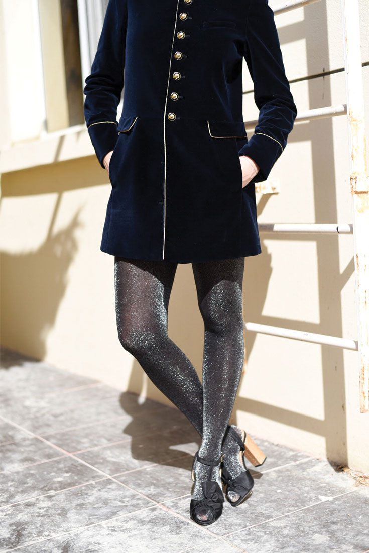 Bonjour Chiara Wears // Christmas Outfit Idea - glitter tights and velvet jacket dress www.bonjourchiara.com