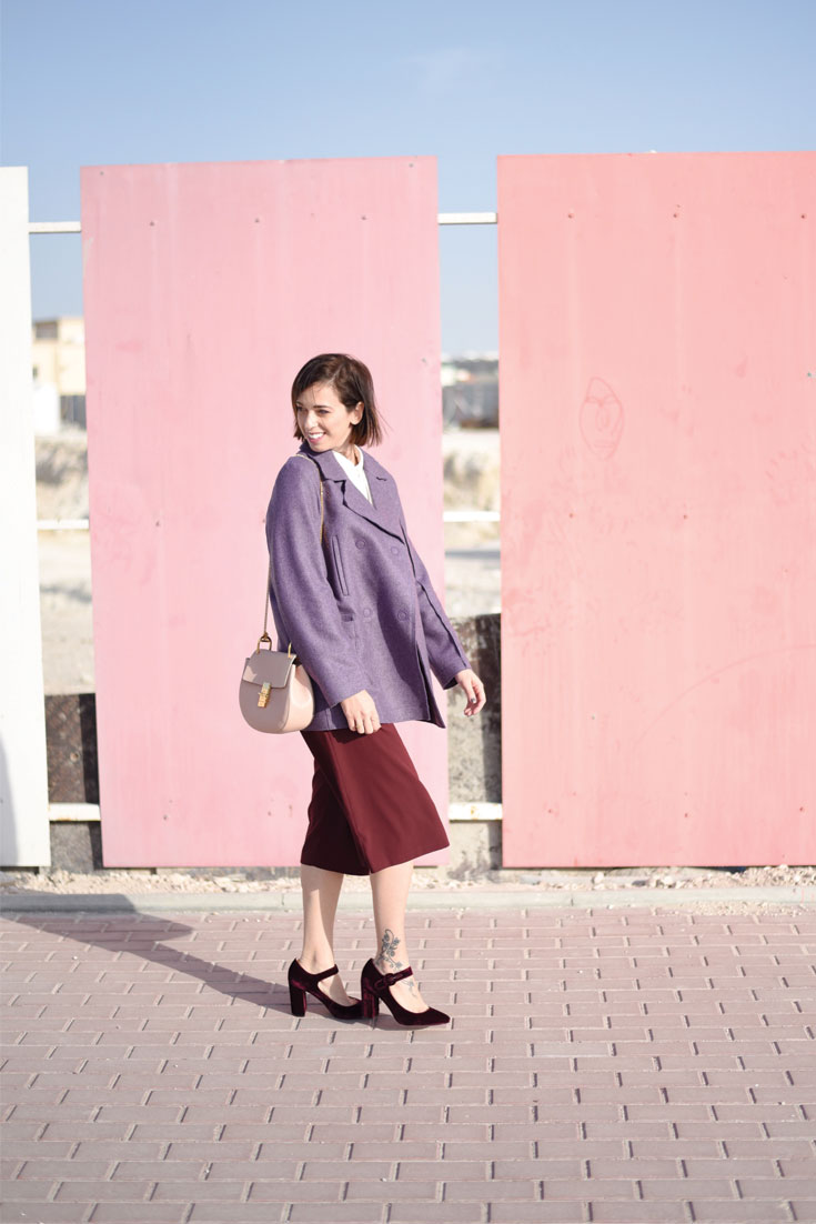Bonjour Chiara Wears // Purple Peacot and Burgundy Culottes - How To Style Two Ugly Colors Together www.bonjourchiara.com