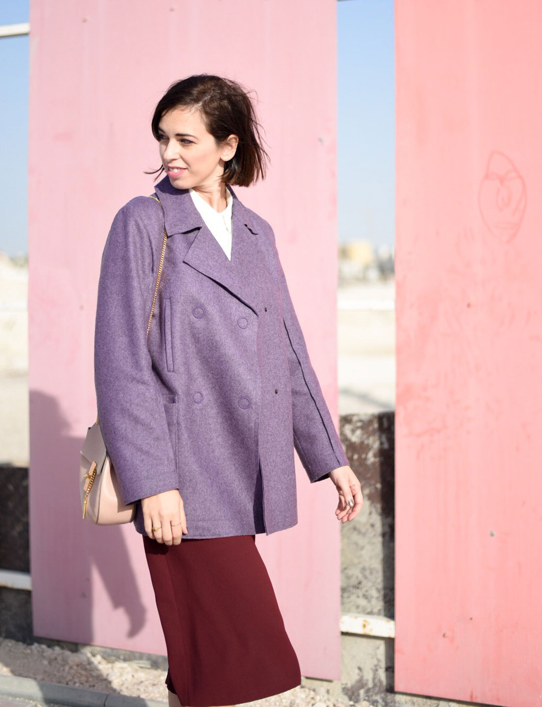 Purple Peacoat + Burgundy Culottes