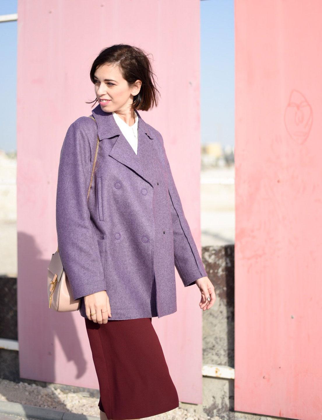 Purple Peacoat + Burgundy Culottes