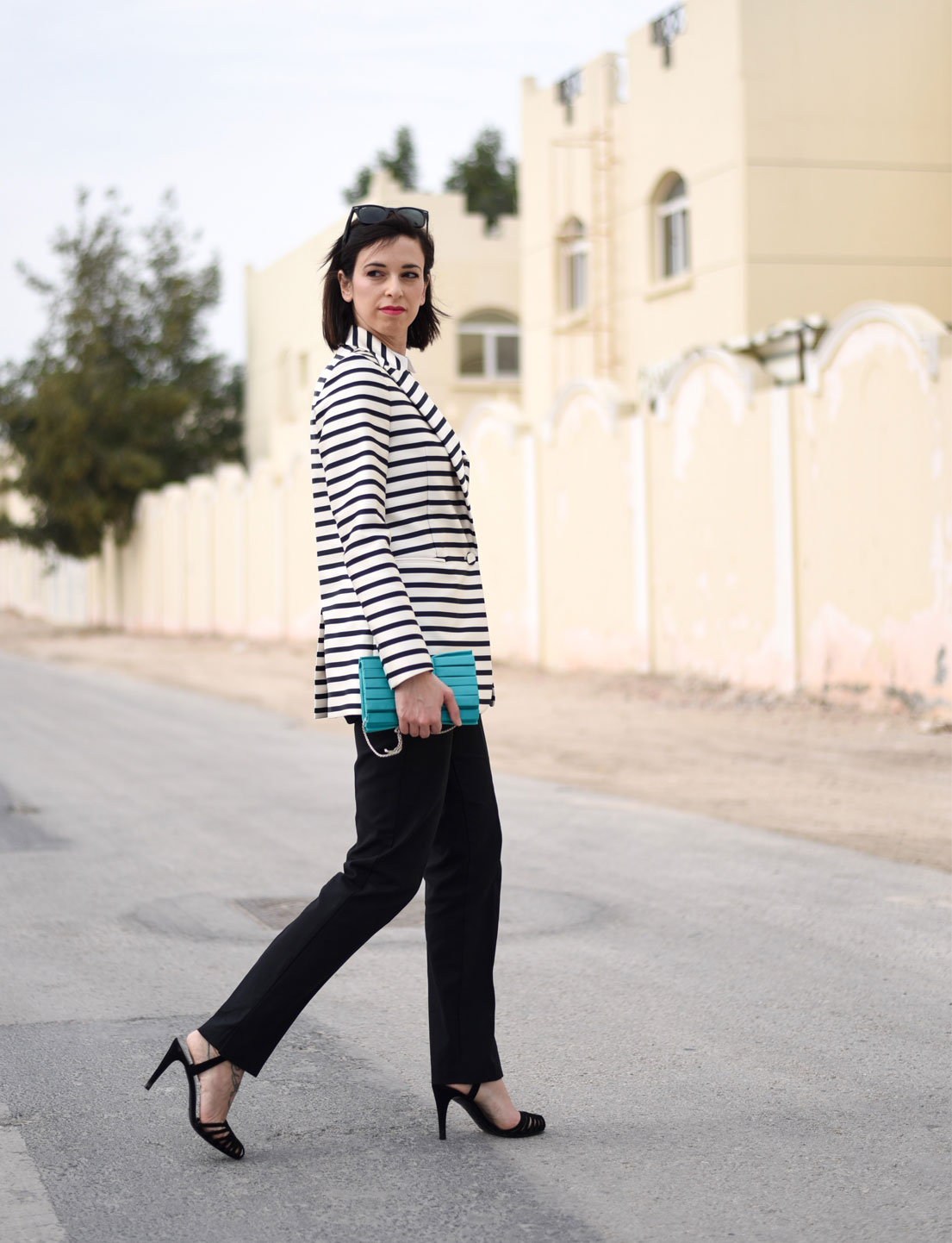 Oversized Striped Jacket + Skinny Pants