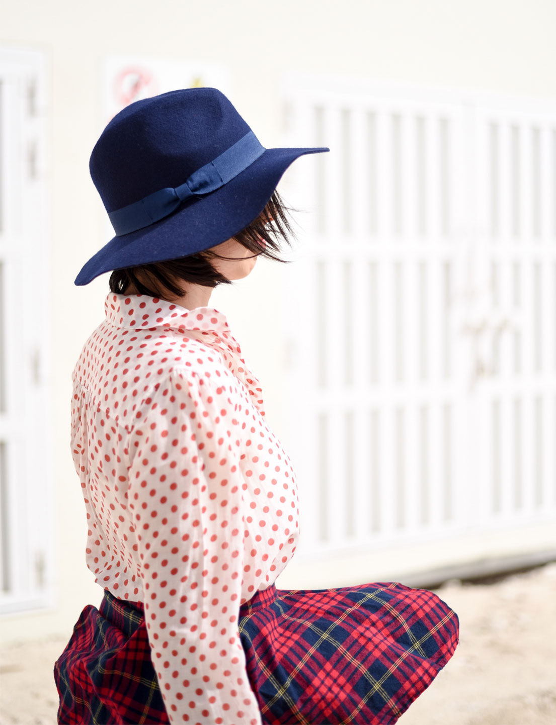 Checked Skirt + Polka Dot Shirt