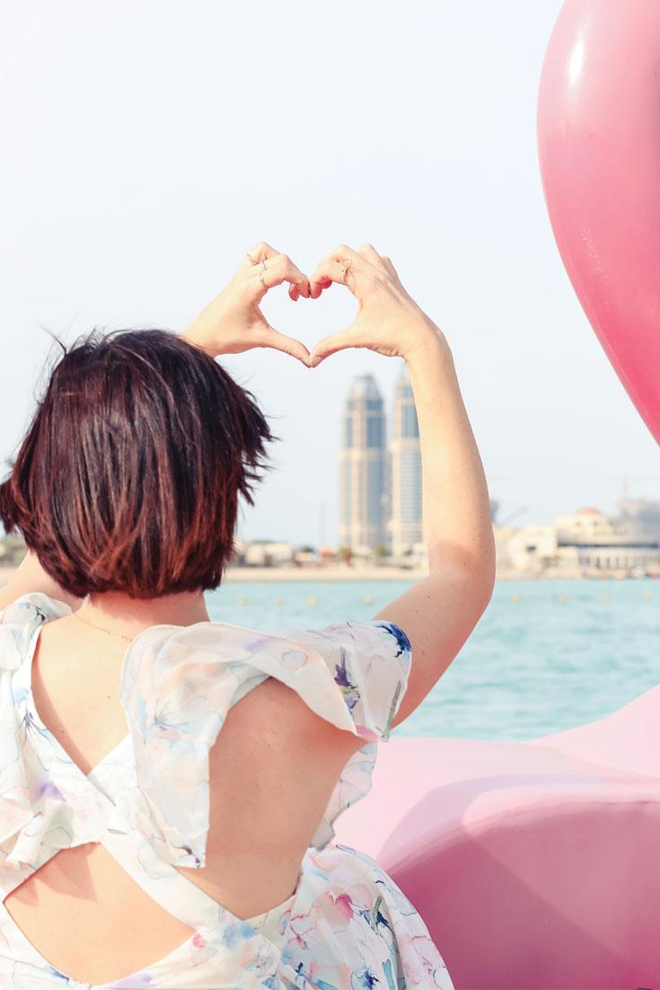 Bonjour Chiara Wears // Namshi floral dress on a flamingo boat