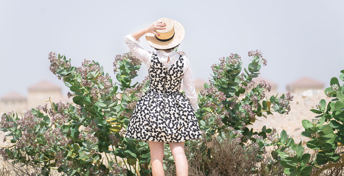 Bonjour Chiara Wears // Kocca Polka Dot Dress - Celine Hat - Zara Pearl Shoes - Alice & Olivia Bag