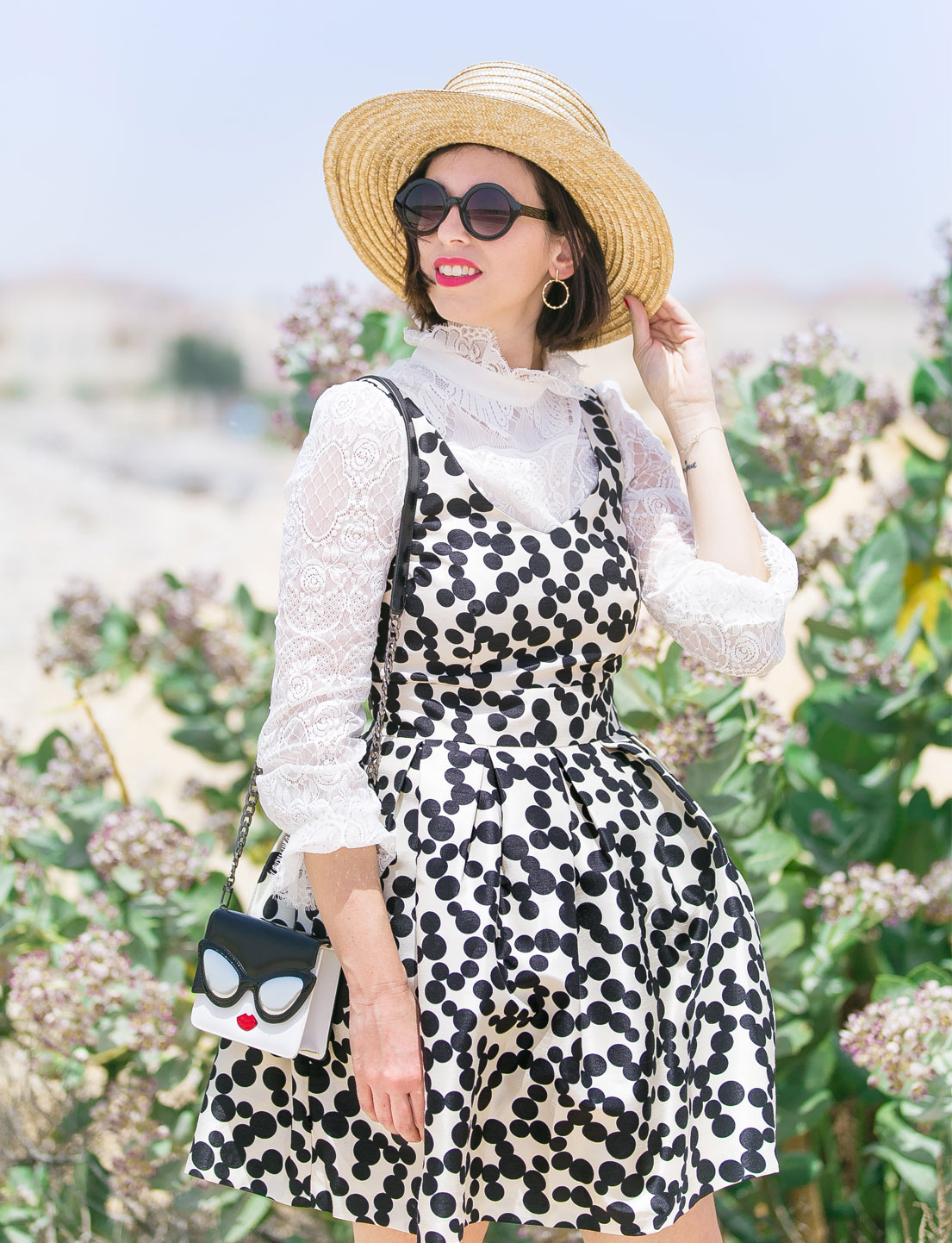 Polka Dot Dress + Pearl Sandals