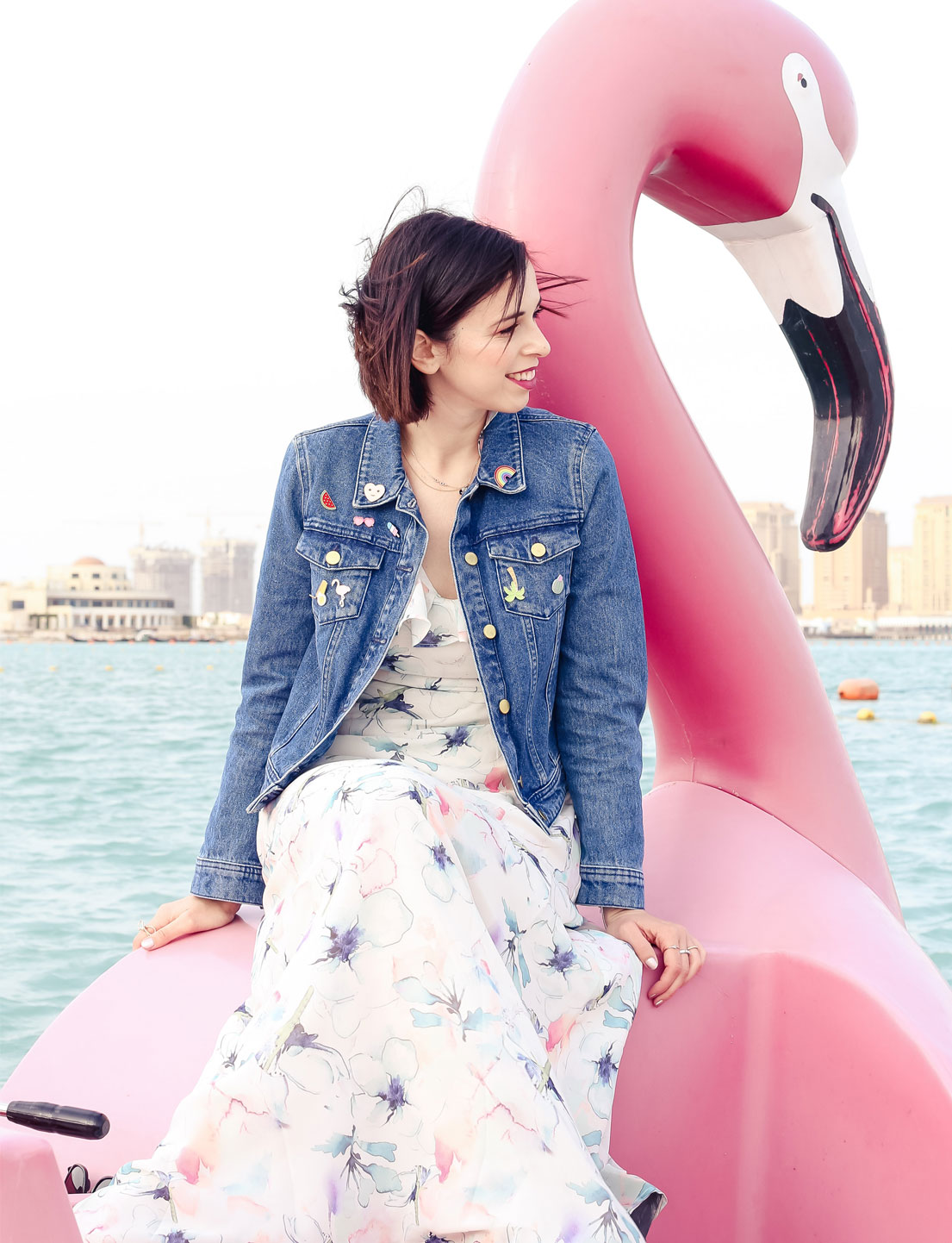 Floral Dress + Flamingo Boat
