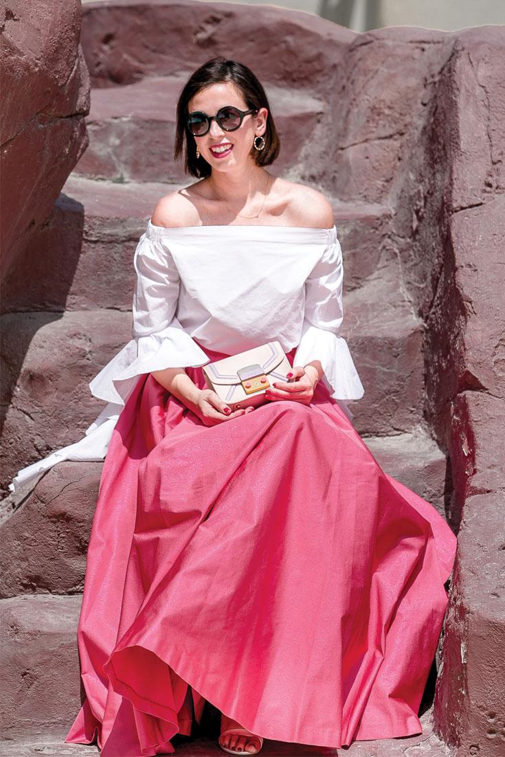 Bonjour Chiara Wears // Kocca Pink Maxi Skirt + Storets Ruffle Top