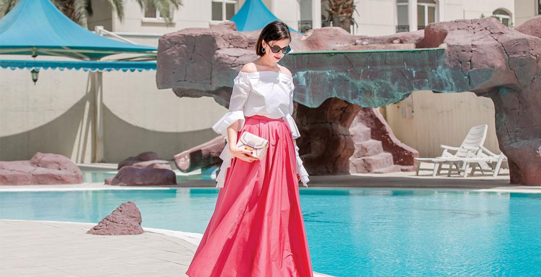 Bonjour Chiara Wears // Kocca Pink Maxi Skirt + Storets Ruffled Top
