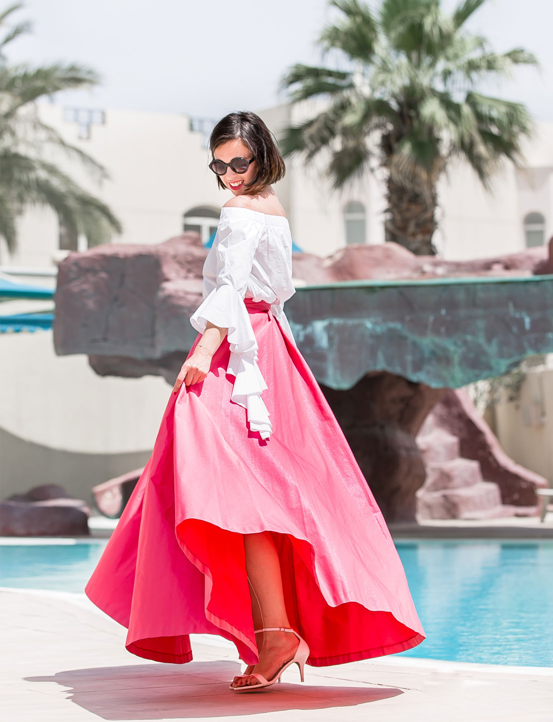 Pink Maxi Skirt + Ruffle Top