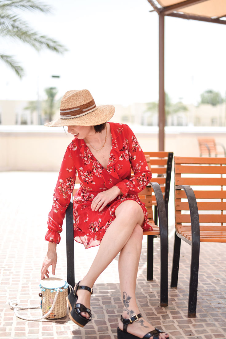 Bonjour Chiara Wears // H&M floral dress & straw bag
