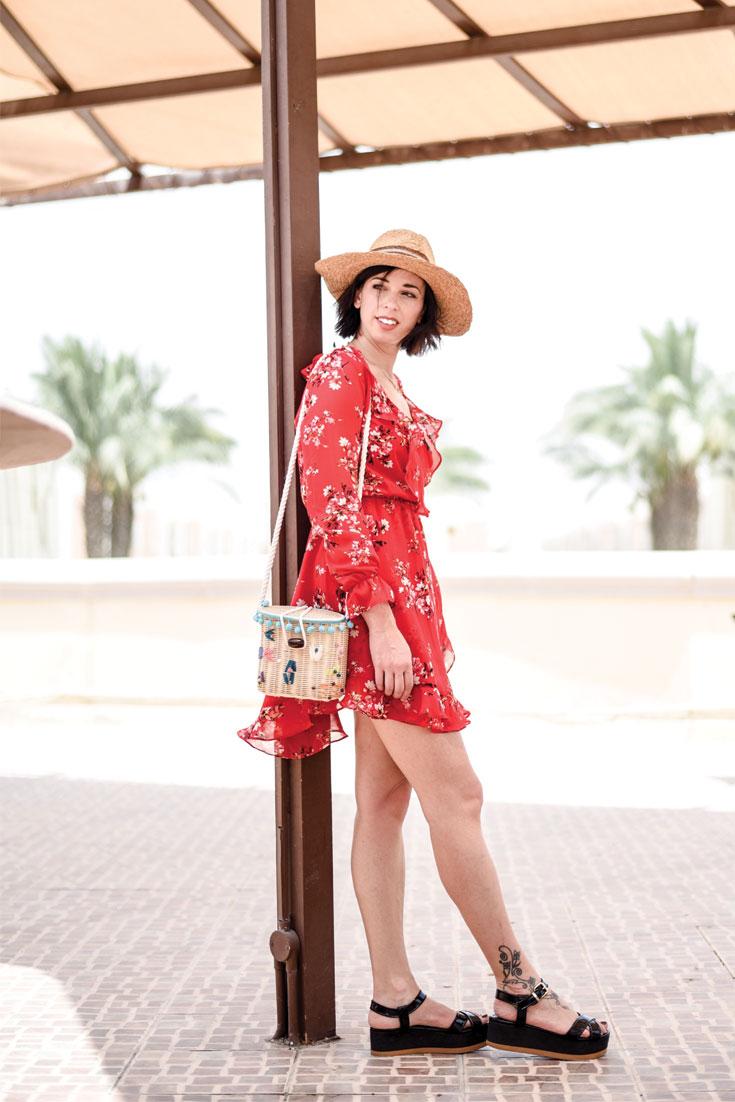 Bonjour Chiara Wears // H&M floral dress & straw bag