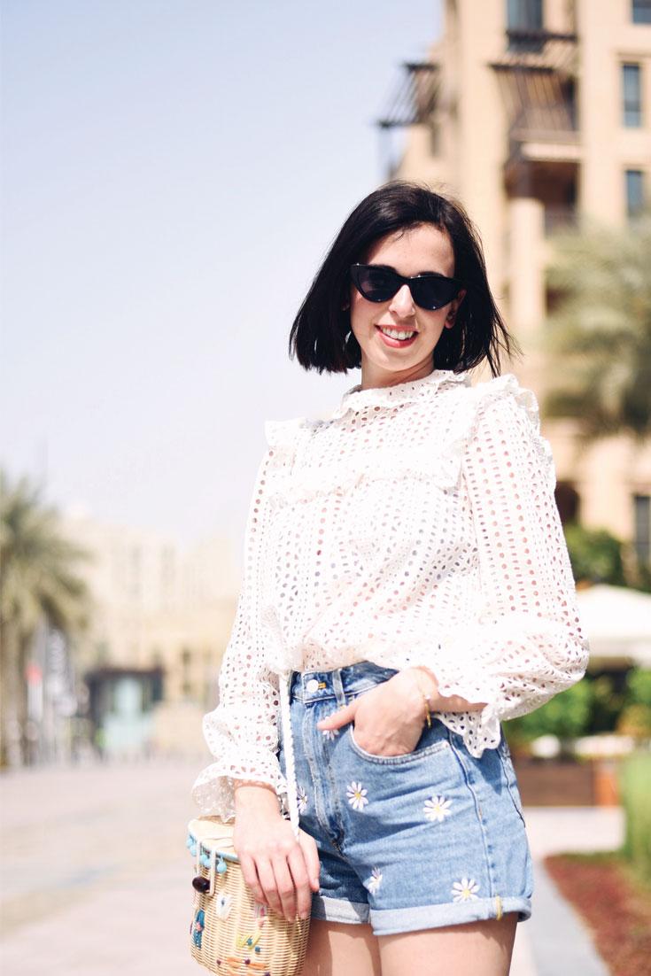 Birthday Girl wears // Claudie Pierlot blouse - Denim shorts - Lolita sunglasses - Straw bag