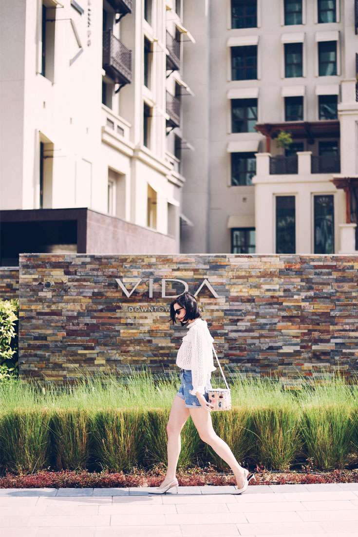 Birthday Girl wears // Claudie Pierlot blouse - Denim shorts - Lolita sunglasses - Straw bag