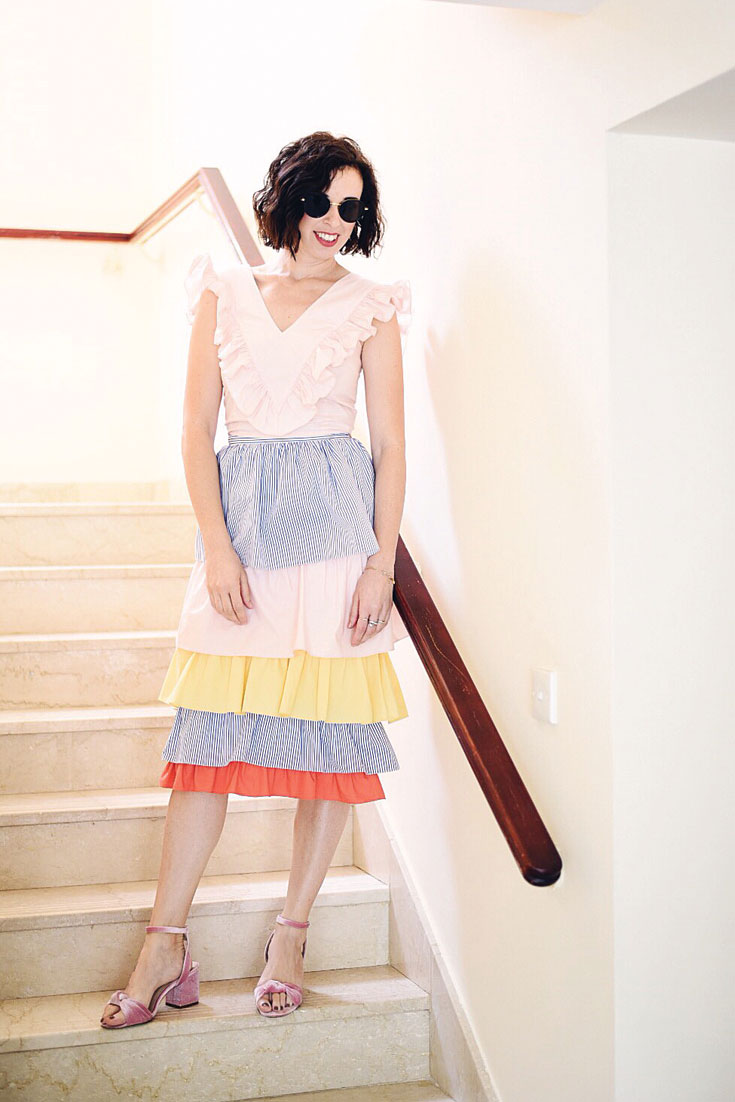 Bonjour Chiara Wears // Katr Dobrrkova rainbow skirt for summer