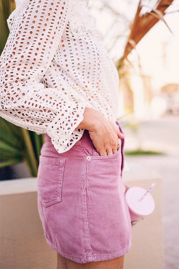 Current obsession: pink corduroy skirt - Bonjour Chiara