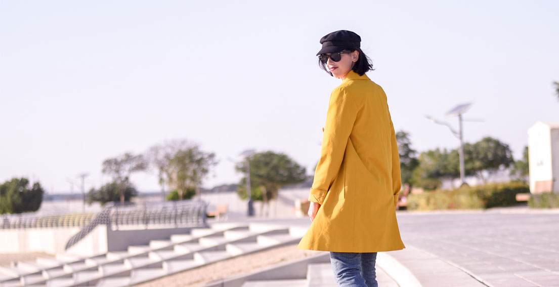 Casual Friday Look // Yellow Coat and White Sneakers