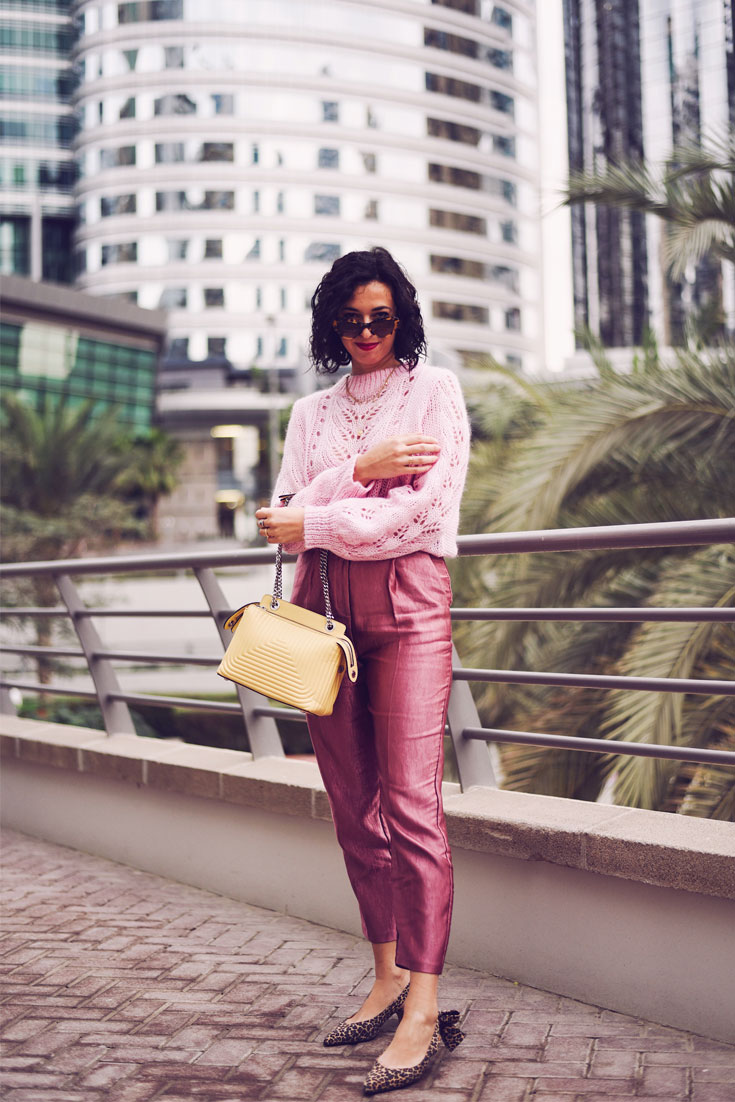 PINK LUREX HIGH WAIST TROUSERS - FENDI DOT COM BAG - PRADA SUNGLASSES - GANNI SHOES #ganni #lurex #pink #ootd