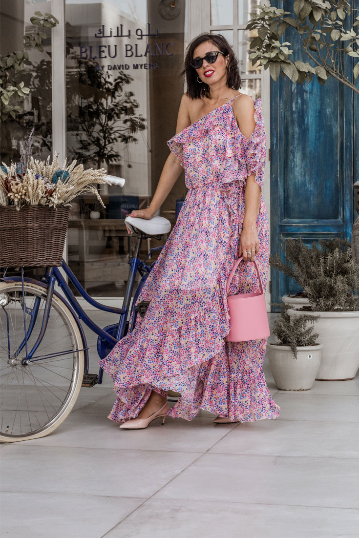 Farfetch Middle East - Spring look // Staud Bag - Alberta Ferretti dress #farfetch #staudbag