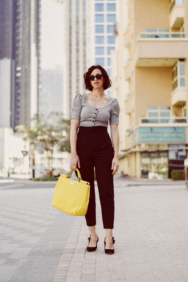 H&M HIGH WAIST PANTS - &OTHER STORIES CROPPED TOP - DOLCE GABBANA BAG - SOPHIA WEBSTER SHOES #35mm