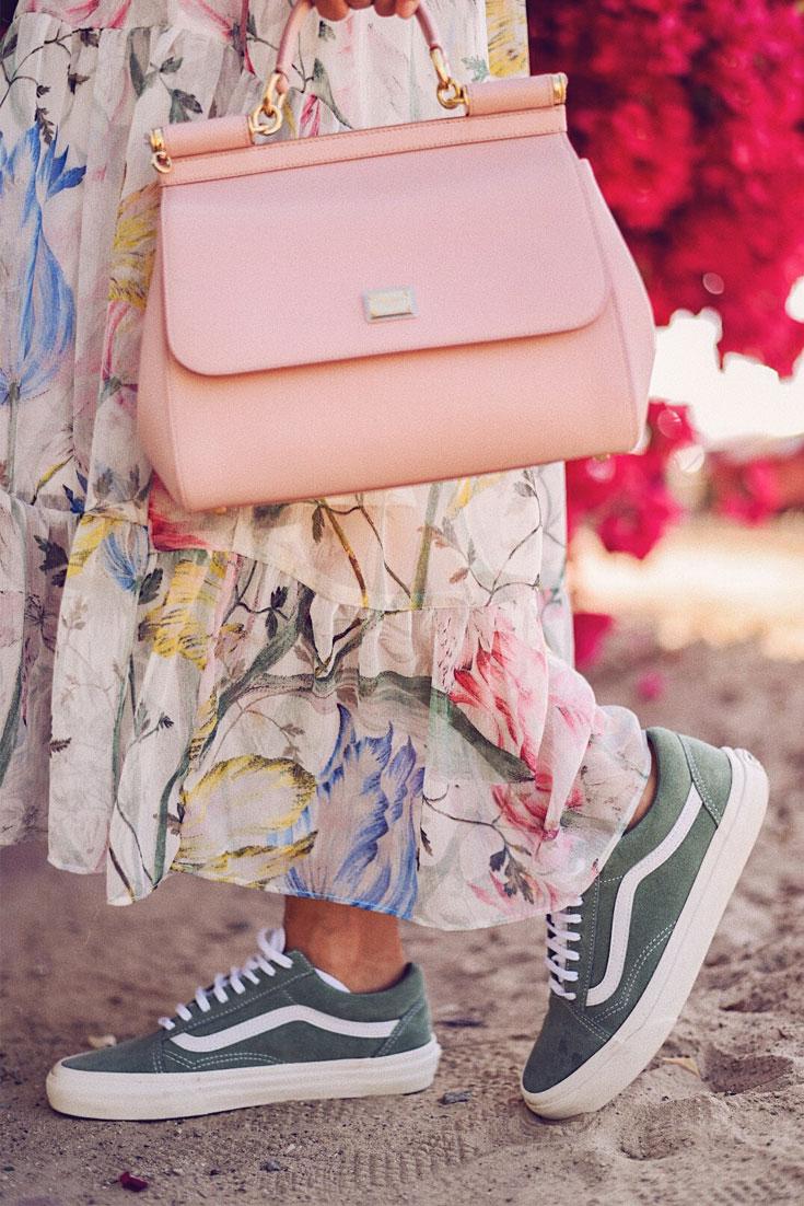 5 + 5 Things About Bonjour Chiara // H&M spring maxi dress - Dolce Gabbana bag - Vans sneakers #springlook #maxidress #floraldress