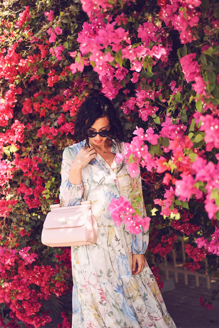5 + 5 Things About Bonjour Chiara // H&M spring maxi dress - Dolce Gabbana bag - Vans sneakers #springlook #maxidress #floraldress