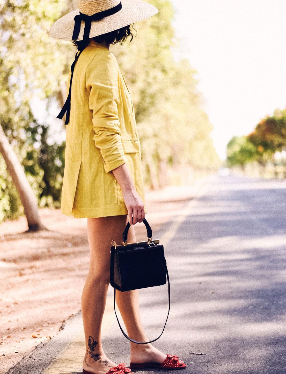 Summer Linen Suit + Python Bag