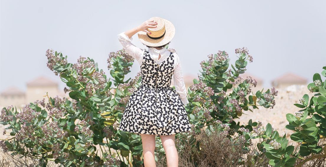 Bonjour Chiara Wears // Kocca Polka Dot Dress - Celine Hat - Zara Pearl Shoes - Alice & Olivia Bag