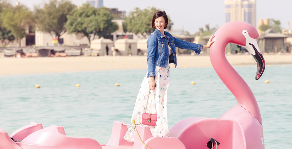 Bonjour Chiara Wears // Namshi floral dress on a flamingo boat