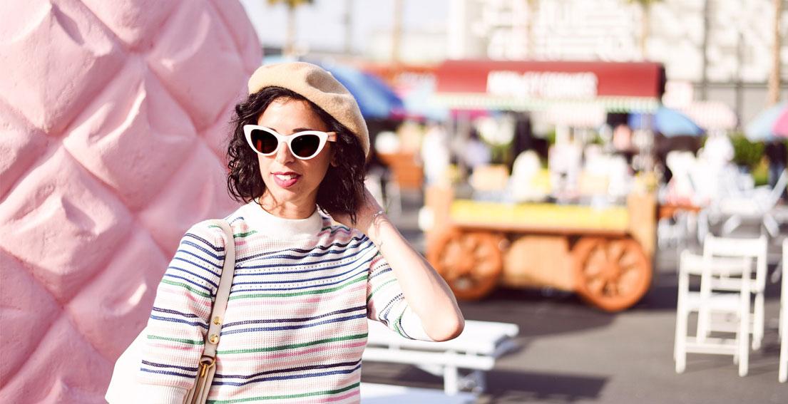 Miami vibes in Dubai || & Other Stories skirt + light sweater / Charles & Keith ballerinas / Kate Spade eye cat sunglasses / Celine bag