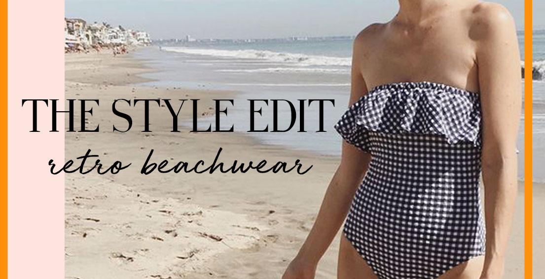 Summer forecast calls for retro beachwear and high-rise bottoms #summerlook #swimsuit #beachwear