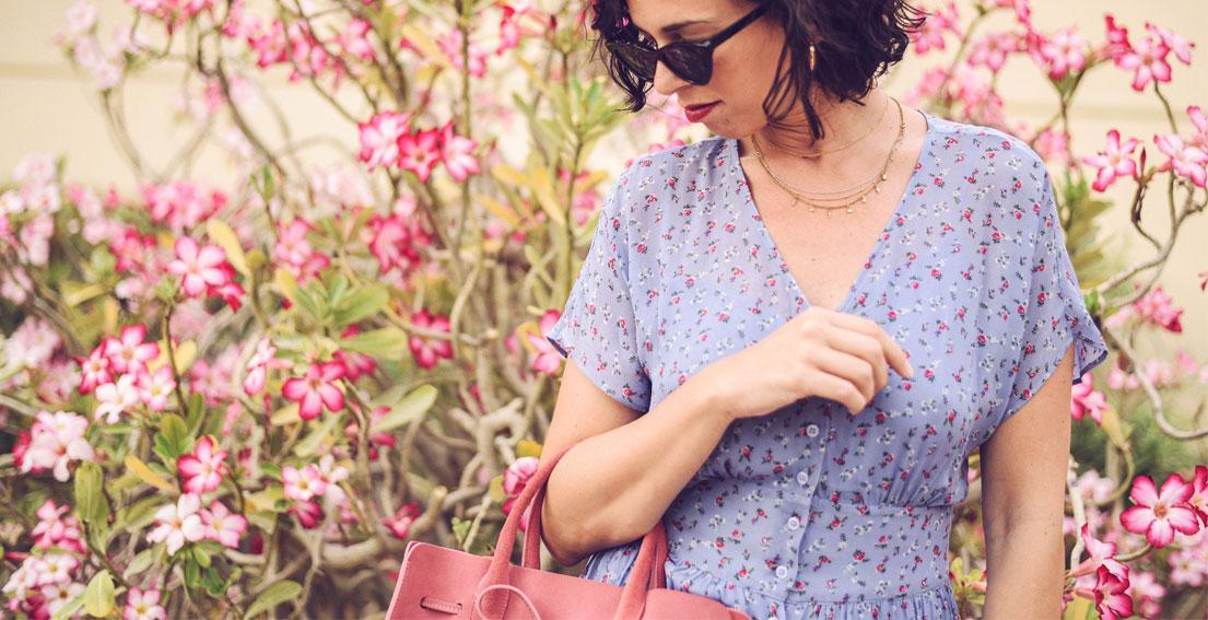 Lilac is the new black - AND OTHER STORIES DRESS - MANSUR GAVRIEL SUN BAG #summerdress #floralmaxidress